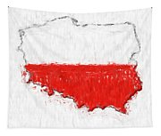 Poland Painted Flag Map Tapestry