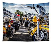 Police Motorcycle Lineup Tapestry