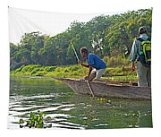 Poling A Dugout Canoe In The Rapti River In Chitwan National Park-nepal Tapestry