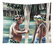 Polynesian Men With Spears Tapestry