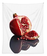 Pomegranate Opened Up On Reflective Surface Tapestry