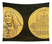 Ponca Tribe Code Talkers Bronze Medal Art Tapestry