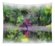 Pond Fishing Photo Art Tapestry