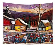 Pond Hockey Birch Tree And Mountain Tapestry