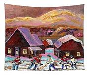 Pond Hockey Cozy Winter Scene Tapestry