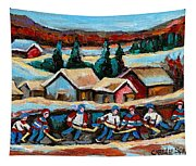 Pond Hockey Game In The Country Tapestry
