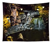 Pond Waterfall And Chuck The Bear Tapestry