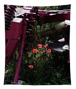 Poppies Growing Amongst Farm Machinery In A Farmyard Near Pocklington Yorkshire Wolds East Yorkshire Tapestry