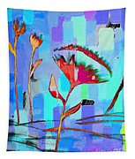 Poppies On Blue 2 Tapestry