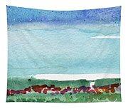 Poppy Field- Landscape Painting Tapestry