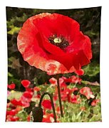 Poppy Watercolor Effect Tapestry