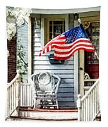 Porch With Flag And Wicker Chair Tapestry