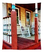 Porch With Red White And Blue Railing Tapestry