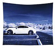 Porsche Car Side Profile Blue Near Infrared Tapestry