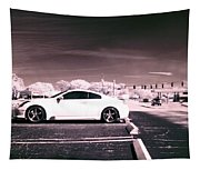 Porsche Car Side Profile Pink Near Infrared Tapestry