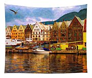 Port Life Watercolor Tapestry