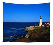 Portland Head Light Panoramic View Tapestry