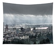 Portland Oregon After A Morning Rain Tapestry