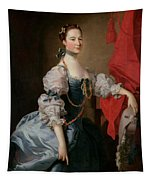 Portrait Of A Lady In A Blue Gown Tapestry