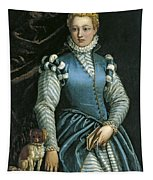 Portrait Of A Woman With A Dog Tapestry