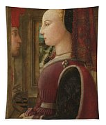 Portrait Of A Woman With A Man At A Casement Tapestry