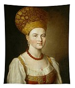 Portrait Of An Unknown Woman In Russian Costume Tapestry