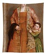 Portrait Of Countess Livia Da Porto Thiene And Her Daughter Deidamia Tapestry