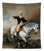 Portrait Of George Washington Taking The Salute At Trenton Tapestry