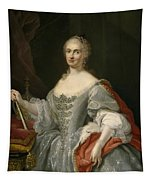 Portrait Of Maria Amalia Of Saxony As Queen Of Naples Overlooking The Neapolitan Crown Tapestry