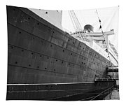 Portside Bw Queen Mary Ocean Liner Long Beach Ca Tapestry
