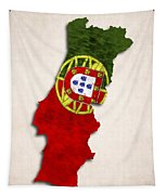 Portugal Map Art With Flag Design Tapestry