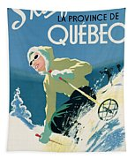 Poster Advertising Skiing Holidays In The Province Of Quebec Tapestry