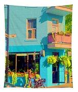 Powder Blue Corner Cafe Elses Pub Rue Roy  Montreal Sunny Summer Cafe Scene Carole Spandau Tapestry