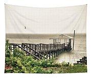 Prange Street Pier Raining Tapestry