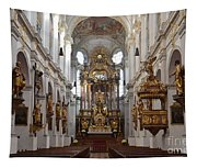 Praying At Munich Church Germany Tapestry