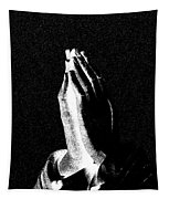 Praying Hands Black And White Glow Tapestry