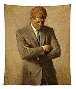 President John F. Kennedy Official Portrait By Aaron Shikler Tapestry