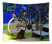 Pretty Cat In Verdun Taking The Sun Blue Picket Fence And Bike Montreal Garden Scene Carole Spandau  Tapestry