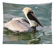 Pretty Pelican In Pond Tapestry