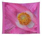 Pretty Pink Poppy Macro Square Tapestry