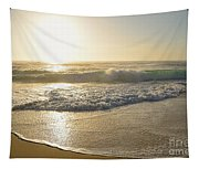 Pretty Waves At Glowing Sunrise By Kaye Menner Tapestry