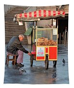 Pretzel Seller With Pushcart Istanbul Turkey Tapestry