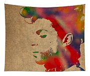 Prince Watercolor Portrait On Worn Distressed Canvas Tapestry