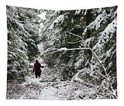 Protective Forest In Winter With Snow Covered Conifer Trees Tapestry