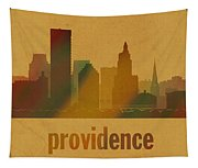 Providence Rhode Island City Skyline Watercolor On Parchment Tapestry
