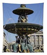 Public Fountain At The Place De La Concorde In Paris France Tapestry