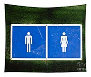 Public Toilet Sign Tapestry