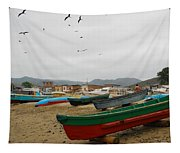 Puerto Lopez Beach And Boats Tapestry