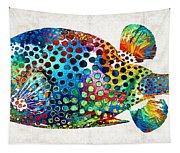 Puffer Fish Art - Puff Love - By Sharon Cummings Tapestry