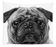 Pug Dog Black And White Tapestry